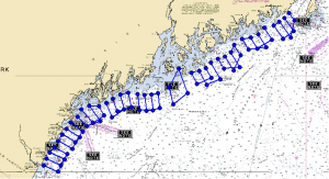 Each transect conducted by lobstermen participating in the herring survey was approximately 60 miles, encompassing 4,140 over the three months of the project. GMRI illustration.