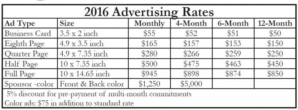 2016 rate sheet