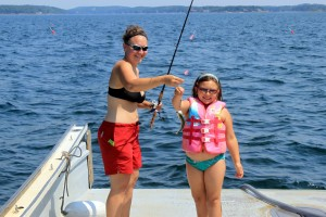 Monique Coombs and her daughter try a little mackeral fishing during the summer months. Photo courtesy of Monique Coombs.