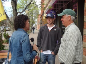 Cyrus Sleeper, middle, and David COusens, right, were interviewed while on PEI by CBC Radio. Photo by Patrice McCarron.