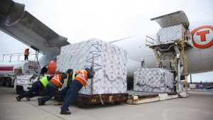 Making sure that a shipment of live lobsters makes it onto the plane with all the required paperwork on time is the task for a freight forwarding company. Photo courtesy of the Chronicle Herald.