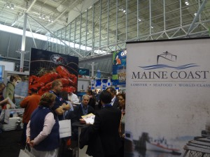 The Maine Lobster Promotion Council booth saw plenty of visitors during the show. A Sunday night lobster reception enticed many industry leaders.