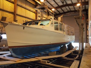 Libby's Autumn Gale getting its spring refit at Billings Diesel in Stonington. Photo by Annie Tselikis.