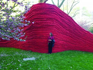 """Artist Orly Genger used around 80,000 pounds of used lobster rope for her sculpture """"Red, Yellow and Blue."""" All photos by Laura Ludwig."""
