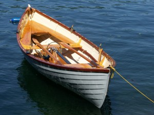 Returning to Vinalhaven after retiring, Doug Hall rebuilt an old peapod, from which he sets his traps today. Photo courtesy of Jim Luton.