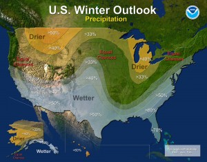 The winter forecast for New England predicts a normal amount of  precipitation but a distinctly greater chance of warmer temperatures. Still, Mother Nature could throw us another winter of heavy snowfall. NOAA graphics.