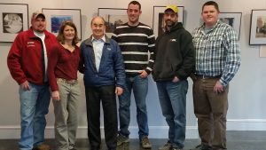 The new MLA board members met with Rep. Poliquin after the Directors' meeting in April. MLA photo. From left to right, Dustin Delano, Patrice McCarron, Congressman Poliquin, John Tripp, Herman Coombs, Chris Welch.