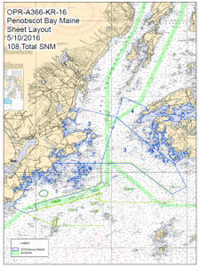 Penobscot Bay and the planned Priority sections for the hydrographic survey.