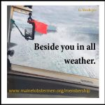 "Image of sea spray off side of boat with text ""Beside you in all weather."""